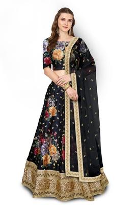 Black Embroidered Art Silk Unstitched Lehenga
