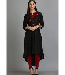Black embroidered Silk Blend stitched long-kurtis