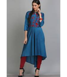 Blue embroidered Silk Blend stitched long-kurtis