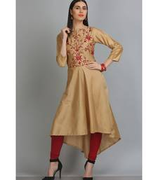 Beige embroidered Silk Blend stitched long-kurtis