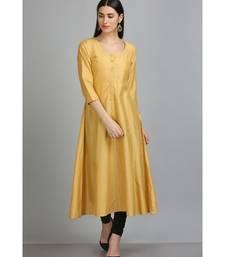 Gold embroidered Silk Blend stitched long-kurtis