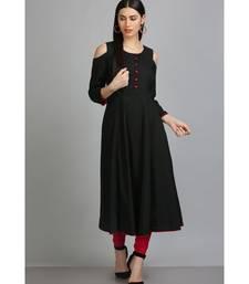 Black embroidered Silk Blend stitched long-kurtis