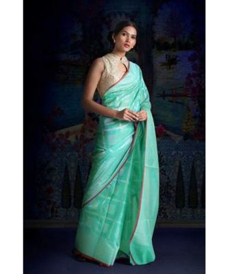 AQUA GREEN BLENDED TISSUE SAREE WITH WOVEN DESIGNS