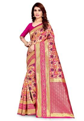 pink woven art silk saree with blouse