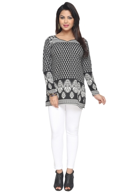 Black printed American crepe stitched short-kurtis Long sleeve