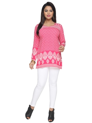 Pink printed American crepe stitched short-kurtis Long sleeve