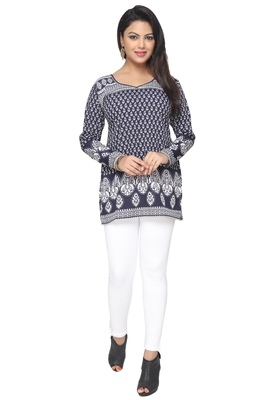 Dark Blue printed American crepe stitched short-kurtis Long sleeve