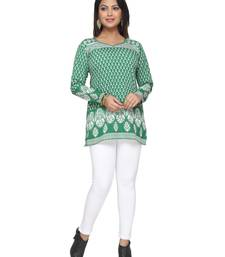Dark Green printed American crepe stitched short-kurtis Long sleeve