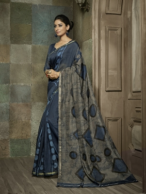 blue printed georgette saree without  blouse