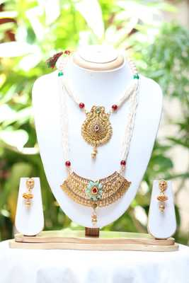 Pearl mala double necklace meenakari long necklace set