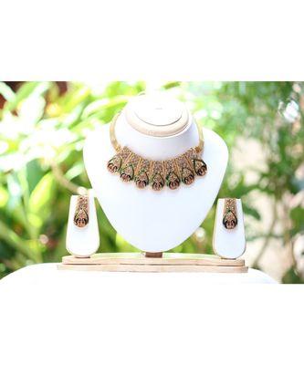 Meenakari peacock choker necklace set gold tone