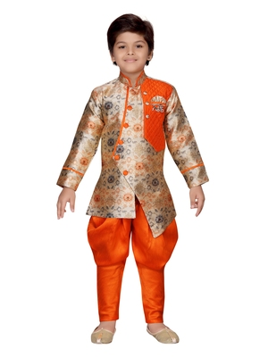 Orange printed silk boys-sherwani