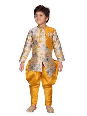 Yellow printed silk boys-sherwani