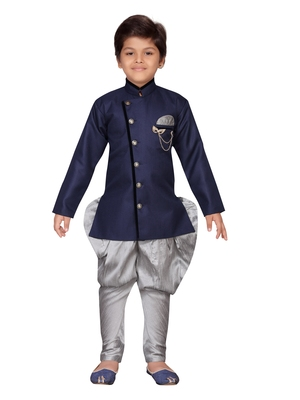 Blue plain jute boys-sherwani