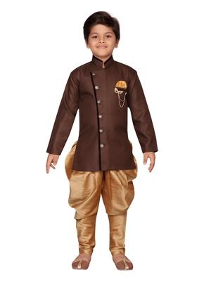 Brown plain jute boys-sherwani
