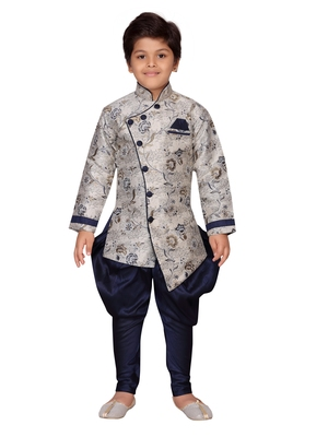 Blue printed silk boys-sherwani