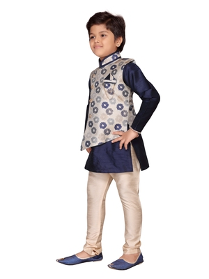 Blue printed silk boys-kurta-pyjama