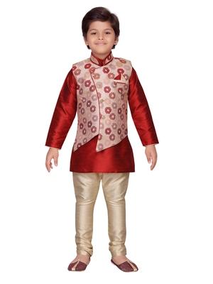 Maroon printed silk boys-kurta-pyjama