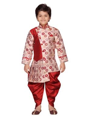 Maroon printed silk boys-sherwani