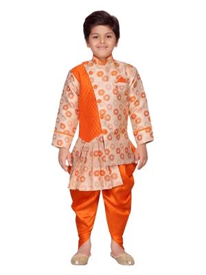 Orange printed silk boys-sherwani