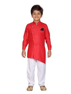 Red plain cotton silk boys-kurta-pyjama