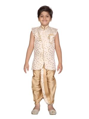 Beige printed jaquard boys-kurta-pyjama