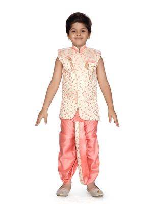 Pink printed jaquard boys-kurta-pyjama
