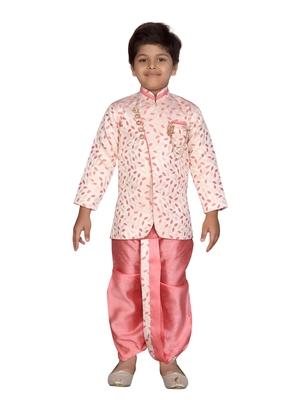 Pink printed jaquard boys-sherwani