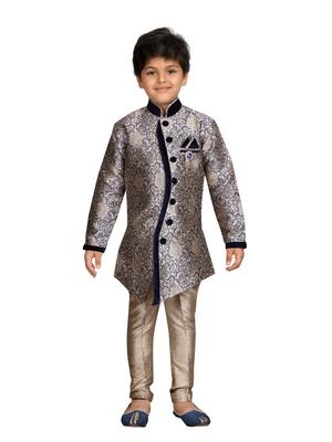 Blue printed silk blend boys-sherwani