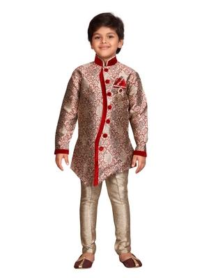 Maroon printed silk blend boys-sherwani