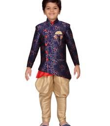 Blue printed jacquard boys-sherwani