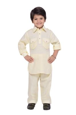 Beige plain cotton boys-kurta-pyjama
