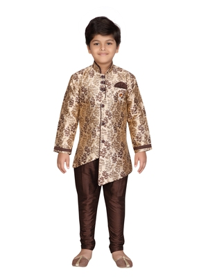 Brown printed jaquard boys-sherwani