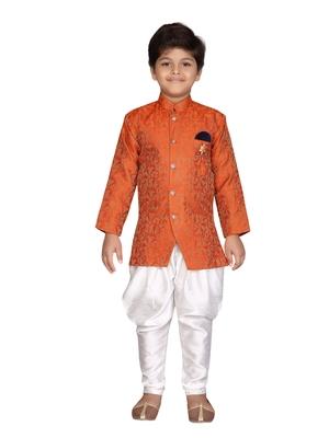 Orange printed jaquard boys-sherwani