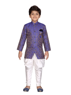 Purple printed jaquard boys-sherwani