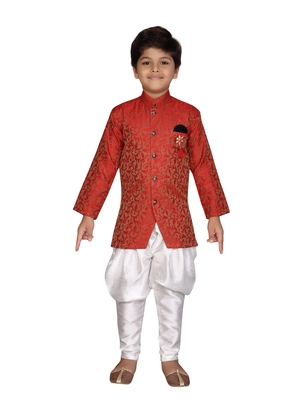 Red printed jaquard boys-sherwani
