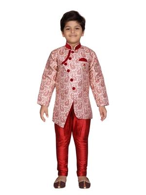 Maroon printed jaquard boys-sherwani