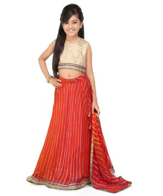 Glod Broced Top Red printed gorget laherya lehenga set