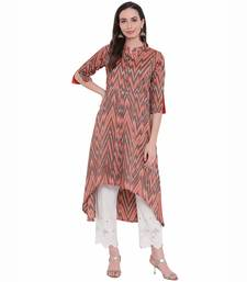 Orange printed rayon ethnic-kurtis