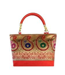 Buy Raw Silk Handbag with Traditional Mango Border (Red) handbag online