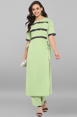 Light-green printed crepe ethnic kurti with straight pant