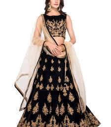 Black embroidered velvet semi stitched lehenga