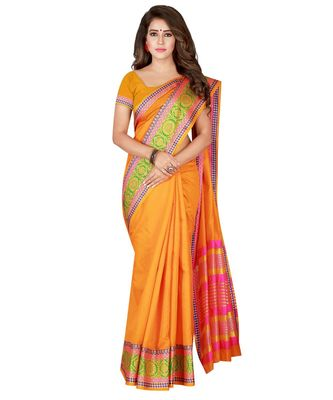 Mustard woven Cotton Blend saree with blouse