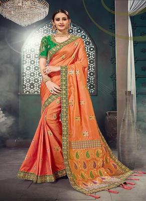 light orange embroidered bhagalpuri silk blend saree with blouse
