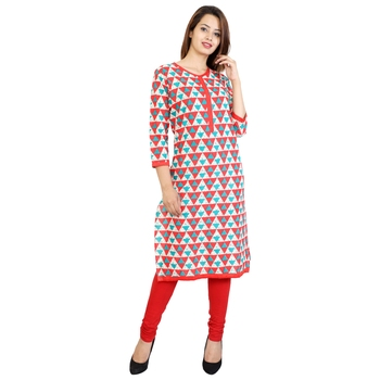 Red Printed Cotton Stitched Kurtis