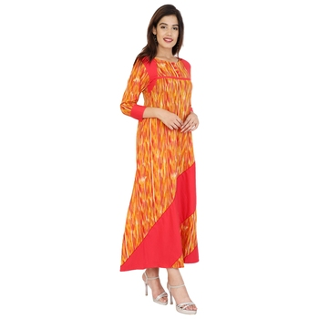 orange plain cotton Stitched Kurtis