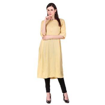 yellow plain Rayon Stitched Kurtis
