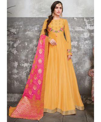yellow embroidered silk blend unstitched salwar with dupatta