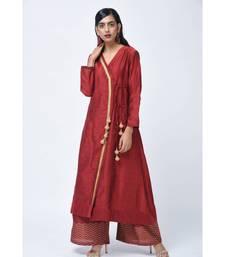 Red embroidered Art Silk stitched kurta-sets