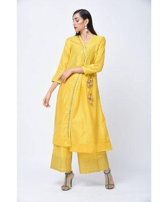 Yellow embroidered Art Silk stitched kurta-sets